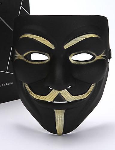 halpa Cosplay ja rooliasut-V for Vendetta Cosplay-Asut Naamio Aikuisten Miesten Cosplay Halloween Halloween Karnevaali Masquerade Festivaali / loma Muovit Valkoinen / Musta / Keltainen Karnevaalipuvut Color Block