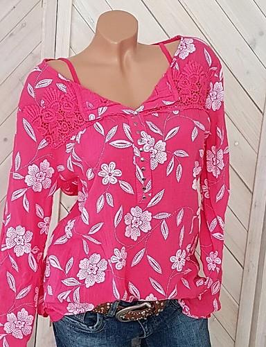 billige Dametopper-Løstsittende Skjorte Dame - Grafisk, Blonde / Nagle / Lapper Rosa XXXL