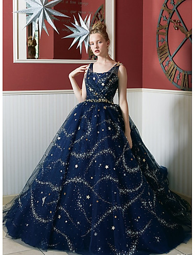 11f56d911e523 Disney Style Ball Gown Square Neck Court Train Lace / Tulle / Sequined Dress  with Beading / Sequin by TS Couture®