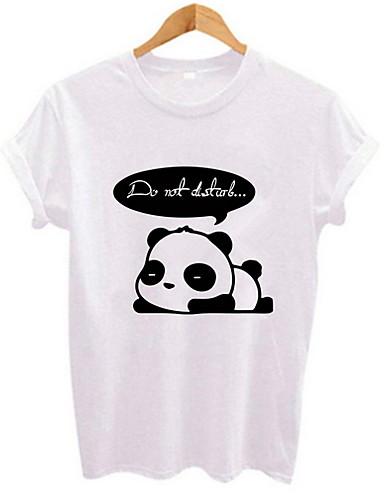 Naisten Painettu Piirretty T-paita Valkoinen