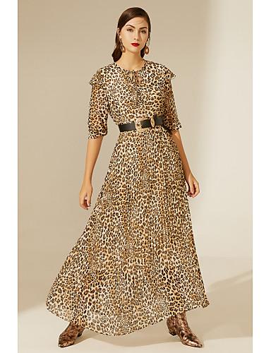 voordelige TS@ Kleding-TS@ dames maxi swing jurk bruin xl
