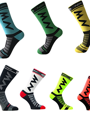 cheap Cycling Socks-Men's Cycling Socks Compression Socks Windproof Breathable Quick Dry Green / Yellow Black / Yellow Dark Green Winter Road Bike Mountain Bike MTB Basketball Stretchy / Road Bike Cycling