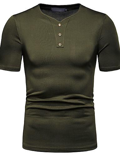 Hombre Camiseta, Escote Redondo Un Color Negro L
