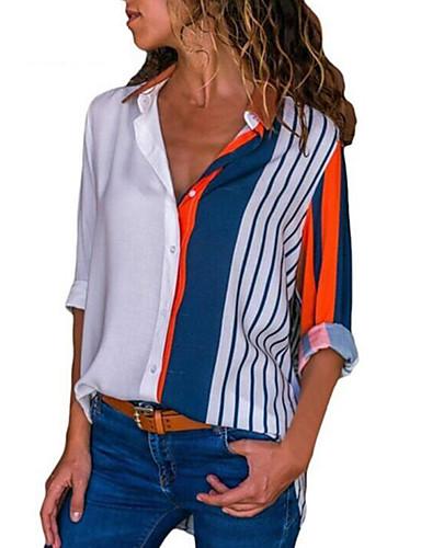 billige Dametopper-Skjortekrage Store størrelser Skjorte Dame - Stripet, Lapper Elegant Hvit