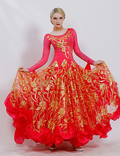 cheap Ballroom Dancewear-Ballroom Dance Dresses Women's Performance Ice Silk Embroidery / Cascading Ruffles / Paillette Long Sleeve Dress