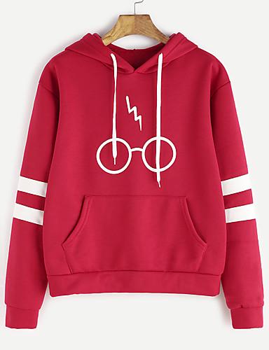 ราคาถูก เสื้อผู้หญิง-สำหรับผู้หญิง ไม่เป็นทางการ / สไตล์น่ารัก Hoodie รูปเรขาคณิต / การ์ตูน