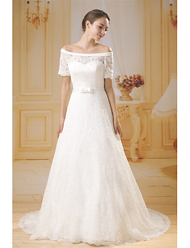 cheap Wedding Dresses-A-Line Off Shoulder Chapel Train Lace / Tulle Made-To-Measure Wedding Dresses with Bow(s) / Lace / Sashes / Ribbons by ANGELAG