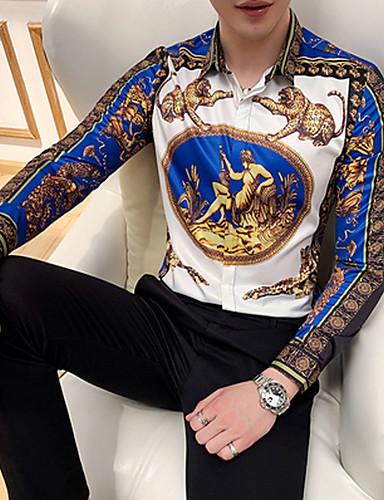 voordelige Herenoverhemden-Heren Print EU / VS maat - Overhemd dier / Tribal blauw / Lange mouw