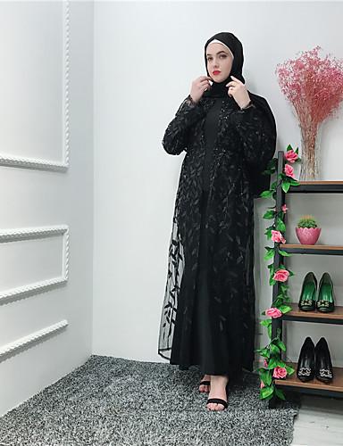 Per Donna Moda Città Elegante Abaya Caftano Vestito - Lacci Con Ricami, Tinta Unita Medio #07310308 Supplemento L'Energia Vitale E Il Nutrimento Yin