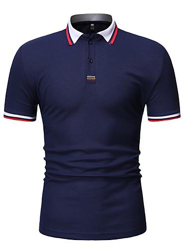 voordelige Herenpolo's-Heren Patchwork EU / VS maat - Polo Katoen Kleurenblok Overhemdkraag Wit