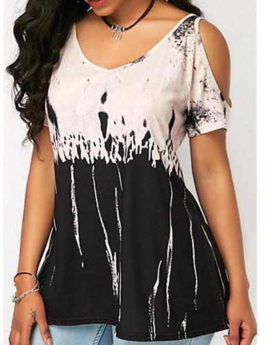 billige Dametopper-V-hals T-skjorte Dame - Batikkfarget, Lapper / Trykt mønster Fuksia