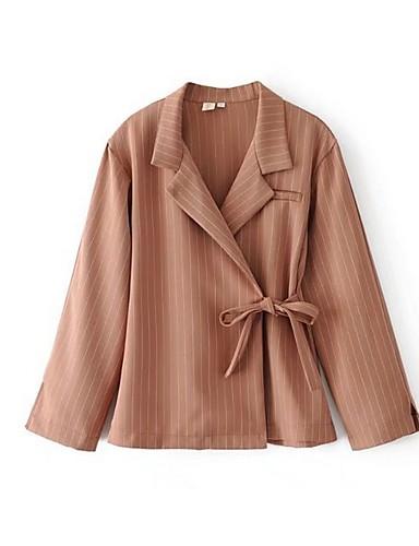 abordables Manteaux & Vestes Femme-Femme Blazer Revers en Pointe Polyester Noir / Marron clair S / M / L