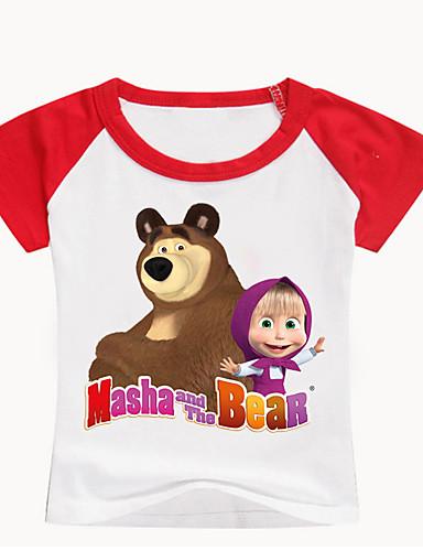 Děti / Toddler Dívčí Základní Tisk Tisk Krátký rukáv Bavlna / Spandex Košilky Černá