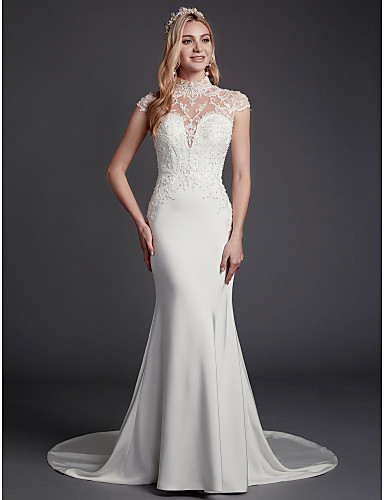 c504aaa080a Mermaid   Trumpet High Neck Court Train Lace   Satin Made-To-Measure  Wedding Dresses with Beading   Lace by LAN TING BRIDE®   Sparkle   Shine