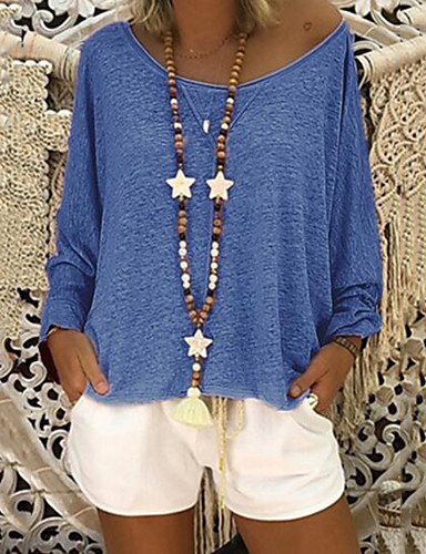 abordables Hauts pour Femme-Tee-shirt Grandes Tailles Femme, Couleur Pleine - Coton Plissé Elégant Gris