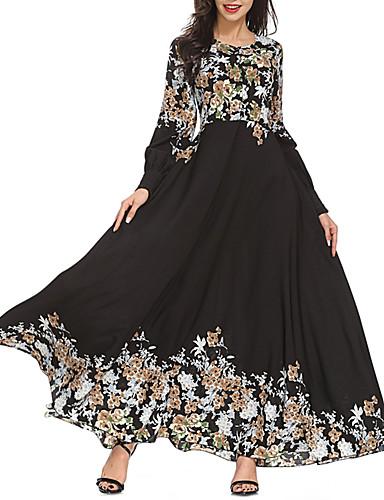 voordelige Maxi-jurken-Dames Wijd uitlopend Abaya Kaftan Jurk - Bloemen Maxi