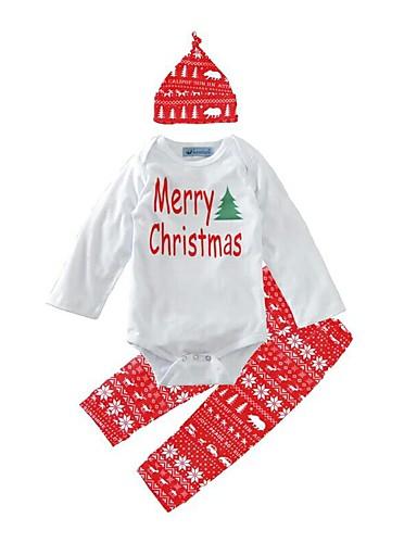 Dítě Dívčí Aktivní / Základní Geometrický / Tisk Tisk Dlouhý rukáv Standardní Standardní Bavlna / Polyester Sady oblečení Bílá