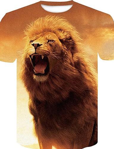 billige T-shirts og undertrøjer til herrer-Rund hals Tynd Herre - 3D / Grafisk / Dyr Bomuld, Trykt mønster Plusstørrelser T-shirt Gul XXL