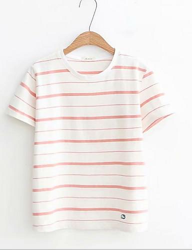 2019 Moda T-shirt Per Donna A Strisce Beige Taglia Unica #07325118