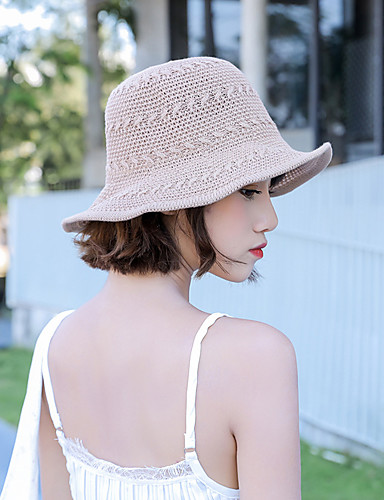 de5c4648d Women's Active Basic Cute Cotton Floppy Hat Straw Hat Sun Hat-Color Block  All Seasons Red Blushing Pink Khaki