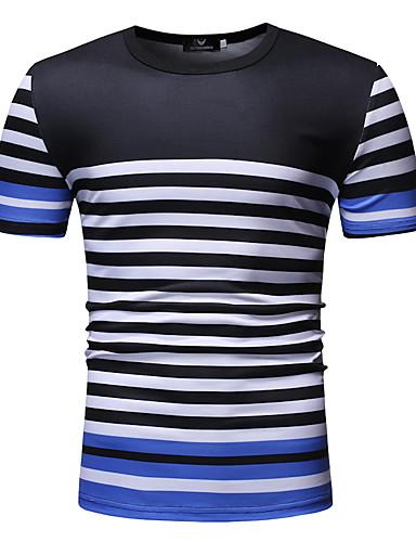 abordables T-shirts & Débardeurs Homme-Tee-shirt Homme, Rayé Imprimé Basique Blanc XL