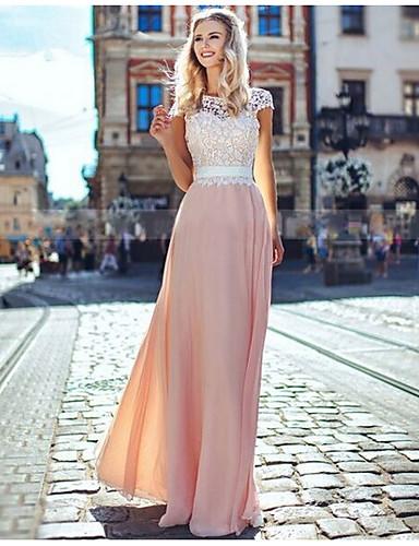 رخيصةأون 6/3-فستان نسائي متموج أساسي دانتيل شيفون بقع طويل للأرض نحيل لون سادة