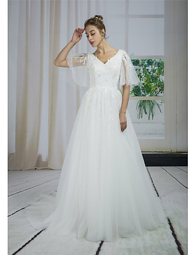 preiswerte Hochzeitskleider-A-Linie V-Ausschnitt Hof Schleppe Spitze / Tüll / Pailletten Maßgeschneiderte Brautkleider mit Applikationen / Spitze durch ANGELAG