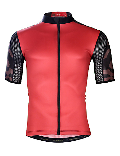 cheap Cycling Clothing-ILPALADINO Men's Short Sleeve Cycling Jersey - Red Bike Top UV Resistant Breathable Moisture Wicking Sports Elastane Terylene Mountain Bike MTB Road Bike Cycling Clothing Apparel / Quick Dry