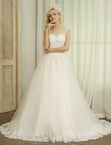 cheap Wedding Dresses-Ball Gown Jewel Neck Chapel Train Lace / Tulle Made-To-Measure Wedding Dresses with Beading / Appliques / Bow(s) by JUDY&JULIA