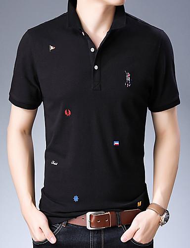 voordelige Herenpolo's-Heren Geborduurd Polo Katoen Effen Overhemdkraag Zwart
