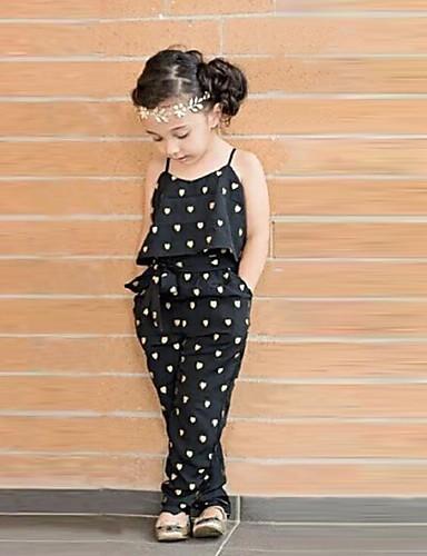 povoljno Odjeća za djevojčice-Dijete koje je tek prohodalo Djevojčice Slatka Style Dnevno Srce Print Bez rukávů Kombinezon Crn