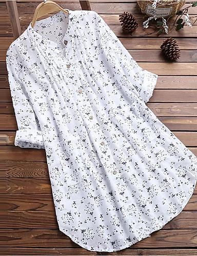 billige Dametopper-Store størrelser Skjorte Dame - Polkadotter, Trykt mønster Blå