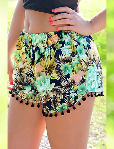 abordables Pantalons Femme-Femme Basique Short Pantalon - Fleur Noir Léopard Blanche S M L