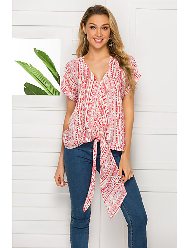 voordelige Damestops-Dames Overhemd Uitgaan Grafisch V-hals Ruimvallend Geel M