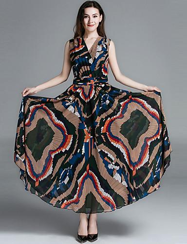 Dame Bohem Elegant Chiffon Swing Kjole - Geometrisk, Trykt mønster Maksi