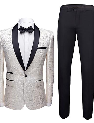 voordelige Herenblazers & kostuums-Heren Pakken, Bloemen Sjaalrevers Polyester Goud / Zwart / Wijn / Slank