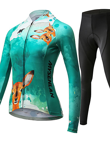 cheap Cycling Clothing-Mysenlan Women's Long Sleeve Cycling Jersey with Tights - Green Bike Clothing Suit Breathable 3D Pad Quick Dry Sports Polyester Spandex Deer Mountain Bike MTB Road Bike Cycling Clothing Apparel