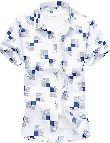 cheap Men's Shirts-Men's Plus Size Shirt - Check White XXXXL