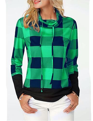 billige Topper til damer-Bomull T-skjorte Dame - Geometrisk / Rutet / Grafisk, Lapper / Trykt mønster Bohem / Punk & Gotisk Blå XXXL