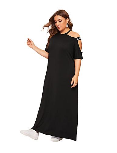 hesapli Büyük Beden Elbiseleri-Kadın's Boho sofistike Kombinezon Elbise - Solid, Kırk Yama Maksi