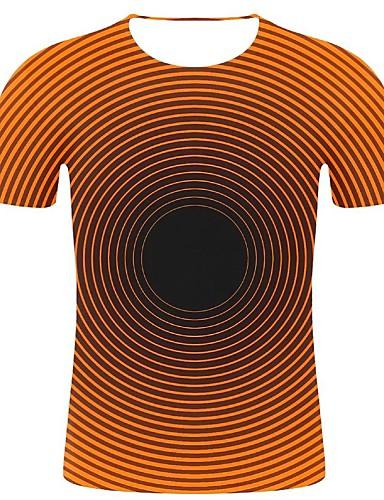 cheap Men's Clothing-Men's T-shirt - Geometric / 3D / Graphic Print Orange XXL