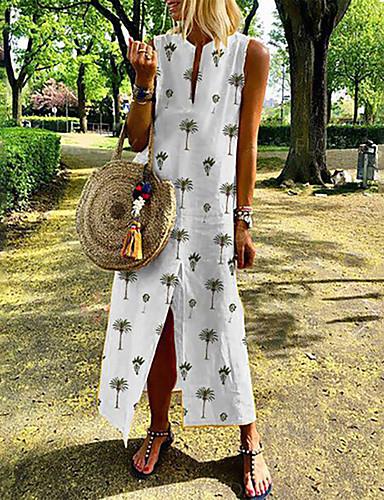 voordelige Maxi-jurken-Dames Vintage Boho A-lijn Schede T Shirt Jurk - Bloemen, Split Print Maxi
