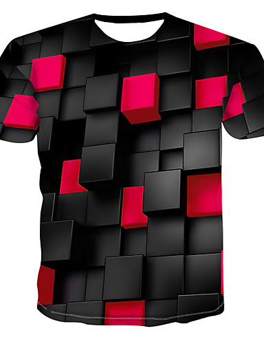 voordelige Heren T-shirts & tanktops-Heren Print T-shirt 3D Ronde hals Groen