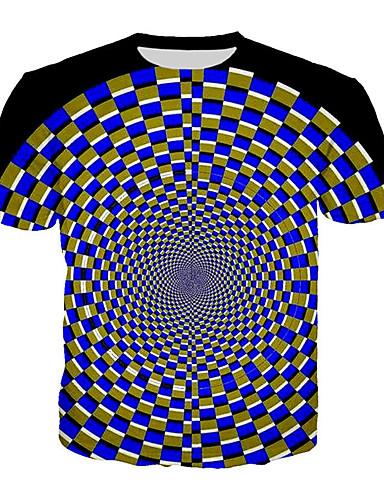 Rund hals Herre - Geometrisk / 3D Plusstørrelser T-shirt Blå XXXL