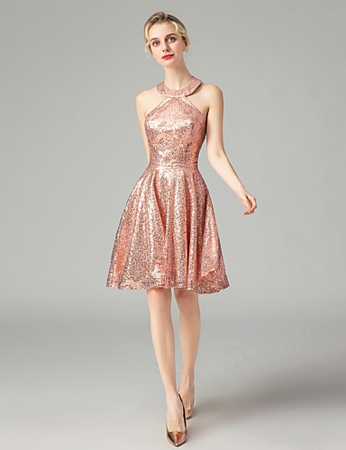 75ccd95e Casual Dress A-Line Halter Neck Short / Mini Sequined Dress with Sequin by  LAN TING Express