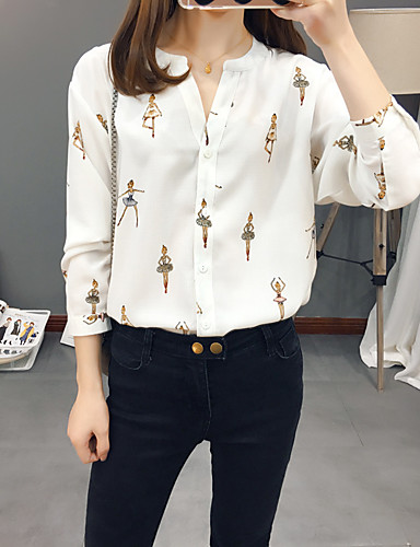 ราคาถูก เสื้อผู้หญิง-สำหรับผู้หญิง เสื้อสตรี คอวี สีพื้น / การ์ตูน ขาว