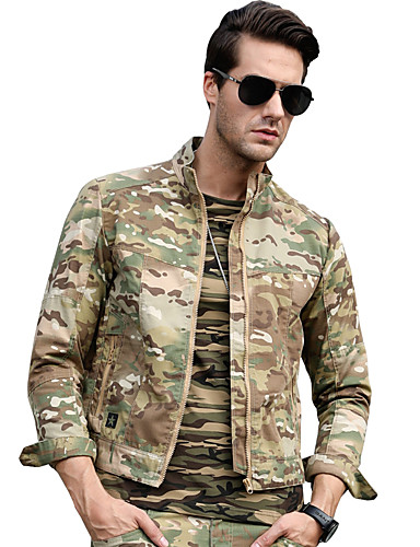 cheap Outdoor Clothing-Men's Camo Hiking Jacket Outdoor Autumn / Fall Winter Windproof Breathable Comfortable Jacket Cotton Single Slider Climbing Camping / Hiking / Caving Traveling Black / Army Green