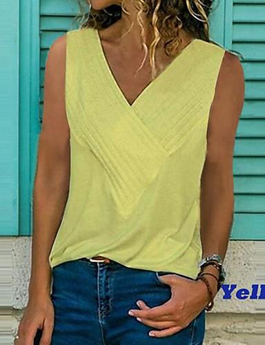 5a7367f1 billige T-skjorter til damer-Løstsittende V-hals Store størrelser T-skjorte