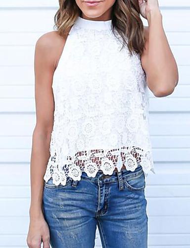 ieftine Bluze & Seturi Femei-Pentru femei Halter Cămașă Bumbac Șic Stradă / Elegant - Mată Dantelă Alb M