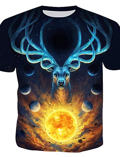 voordelige Herenbovenkleding-Heren T-shirt 3D / dier Zwart